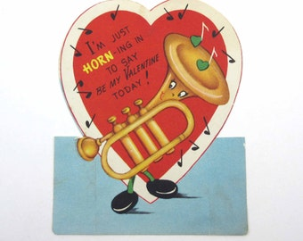 Vintage Unused Valentine Greeting Card with Cute Anthropomorphic Horn Musical Instrument Music