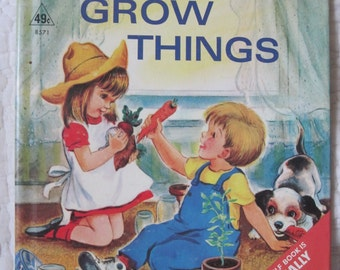 vintage children book, Let's Grow Things by Iris Tracy Comfort 1967 Rand McNally Elf Book