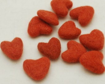 3cm 100% Wool Felt Hearts - 10 Count - Coral Orange
