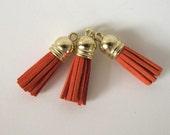 """1 to 4 Copper Rust TASSELS Faux suede suedine tassel . Gold tone cap. 1 3/8"""" long.  T3-850"""