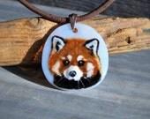 Red panda - Fused glass pendant - red panda sleep in the night