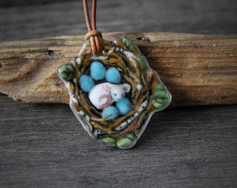 Cute mouse in the nest, Robin eggs - fused glass pendant - Glass jewelry