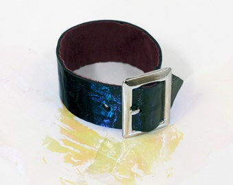 patent leather buckle cuff by indie collective, reversible, adjustable