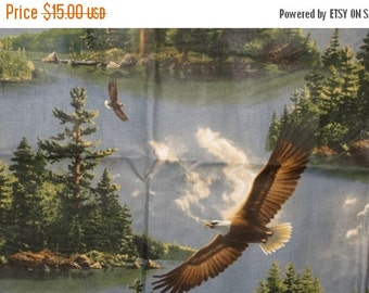 HUGE SALE American Eagle Fabric/Nature/Wilderness/Camping/Lake/Hautman Fabrics/Cranston Village, America the Beautiful, Patriotic Fabric