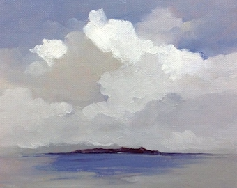 THE ISLAND, original oil painting, landscape, 100% charity donation, canvas  panel, clouds