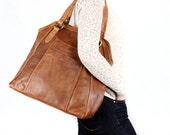 Large Tan Leather Handbag Tote Purse
