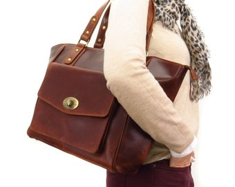 Leather Handbag, Twist Lock Bag, Tote, Brown