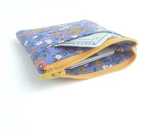 purple zipper pouch. card cash minimalist wallet. earbud case. teen tween. small cute pouch