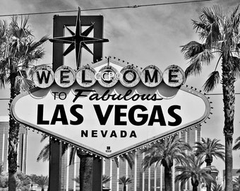 Sign Photography, Welcome To Las Vegas Sign, Las Vegas Sign Print, Nevada Decor, Fine Art Photo, Palm Trees, Sign Photo, Black And White