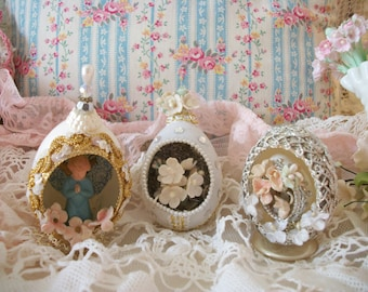 3 vintage egg diorama ornaments, christmas / easter holiday decor, vintage millinery flowers forget me nots, angel figure, fancy trims