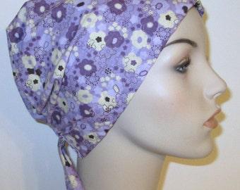 FREE SHIP USA Purple and Cream  Chemo Scarf, Hat, Cancer Hat, Hijab, Alopecia, Head Cover