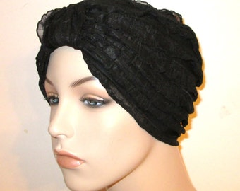 Ruffled Black Turban  Chemo Hat,  Womens Hat, Alopecia Head cover FREE SHIP USA