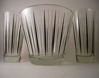 Vintage Retro Glass Bar Set With Ice Bucket and Tumbler Glasses Hi Balls Juice Glases Black Mod Midcentury Modern