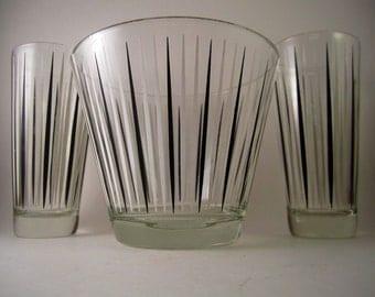 Vintage Retro Glass Bar Set With Ice Bucket and Tumbler Glasses Hi Balls Juice Glases Black Mod Midcentury Modern