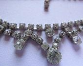 Vintage Rhinestone Necklace (1)  Prong Set Rhinestones ( missing clasp)