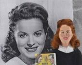 Maureen O'Hara Actress Fan Art Doll Miniature Old Hollywood Famous Redheads