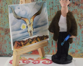 Georgia O' Keefe Doll Artist Miniature  Diorama Creative Art Collectible