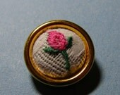 Vintage fabric embroidered rose covered sewing button