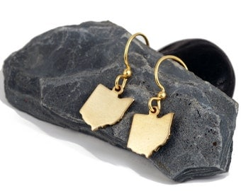 Ohio Earrings, Gold (brass) dangle  state of ohio shape earrings, state pride jewelry
