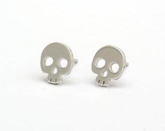 Skull Stainless Steel Earring Post Finding (E31967)