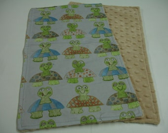 Long Neck Turtles Baby Burp Cloth with Minky READY TO SHIP