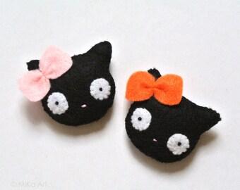 Black Cat Felt Brooch Black Cat Felt Pin Black Kitty with bow Cute Black Kitten Felt Accessory Black Pastel Pink Orange Cat Lover Gift MiKa