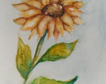 Watercolor Sunflower Card Hand Painted Watercolor Sunflower Greeting Card