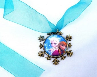 Frozen Snow Queen Inspired Pendant Necklace Jewelry with Ribbon