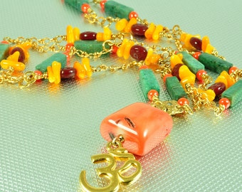 Hindu Om long necklace with coral and aventurine beads