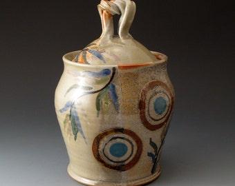 Ceramic Covered Jar, Shino and Grey, Handmade Ceramic Lidded Pot, Cookie Jar, Fine Art Ceramics, Ceremonial Vessel, Burial Urn