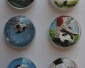 Soccer Balls and Kicks Glass Gem Super Strong Magnets Set of 6
