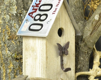 Rustic Birdhouse - Primitive Birdhouse - License Plate Birdhouse - Butterfly Birdhouse - Recycled Birdhouse