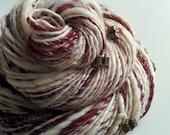 Handspun Art Yarn - FIRST LOVE - Creamy White, Dark red. Book Charms, Beads. Texture, OOAK Gift for Knitter, Book Lover. 145 yds, 3.8 oz
