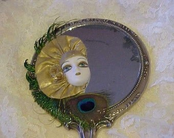 SILVER-TONE HaND-MIRROR~~Altered Art~~Re-Designed~~Bisque Face~~PeACOCK FeATHERS~~For Your DReSSing ROom or BEdROOm~~LoVeLY DESiGn on HAnDLE