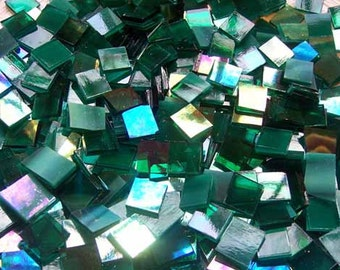 Mini Green Iridescent Stained Glass Mosaic Tiles