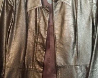 DKNY Made in USA Bronze/gold Leather Jacket
