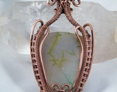 Large copper and Agate woven wire wrapped pendant