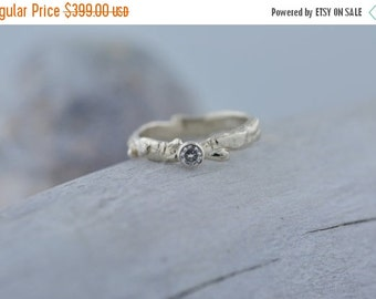 40% Off Sale 14k White Gold Moissanite Branch Ring | Stacking Ring | Nature Inspired Ring