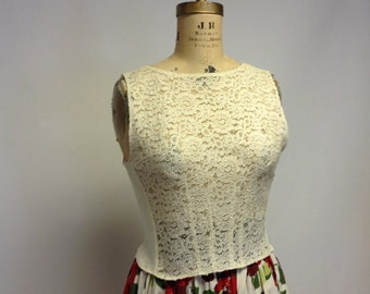 Sheer Lace and Cotton Sleeveless Shell Pullover Top