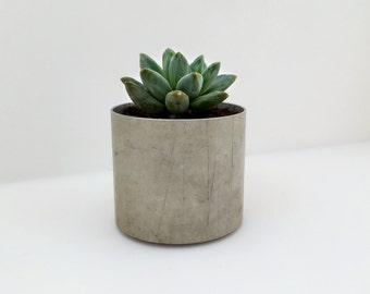 Recycled Metal Planter, Industrial Chic Metal Succulent Planter, Small Round Planter Pot
