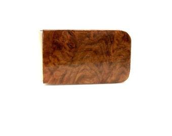 Handmade Wood Money Clip Australian York Gum Burl Wood