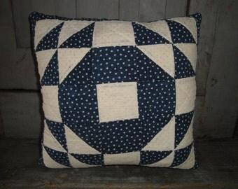 Old Blue Calico Quilt Pillow | Vintage Quilt Pillow | Antique Quilt Pillow | Cutter Quilt Pillow | 10 x 10 Pillow