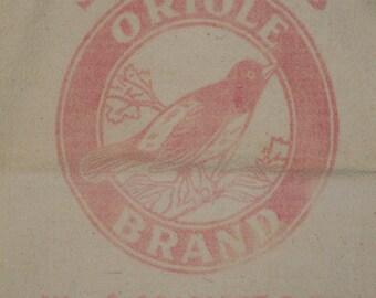 Vintage Feedsack | Old Feedsack | Primitive Feedsack | Scarlett's Orioles Brand Feedsack