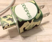 iPod or iPhone charger wrap, personalized, camo, camouflage, cord wrap, custom charger wrap