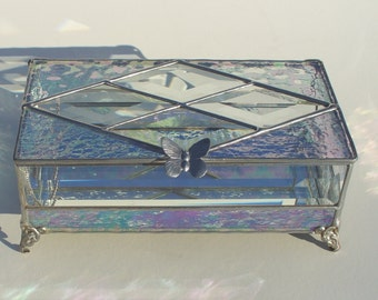 Opalescent, Stained Glass Box, 8x4x3 Inches, Glass Boxes, Glass Jewelry Box, with your choice of handle. Hand Made