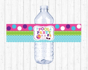 Pool Party Water Bottle Labels / Water Bottle Wraps / Girls Pool Party / Summer Birthday Party / Printable INSTANT DOWNLOAD