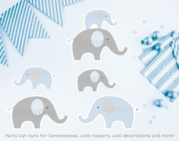 Cute elephant cut outs elephant baby shower blue elephant for Baby shower decoration cutouts