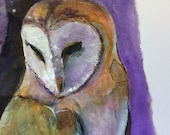 "Original 6x9"" Barn Owl Moon Watch Acylic Painting Autumn Mood End of Summer Bird of Prey"