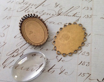 Brass Ox Settings and German Domed Glass Cabochon (6pcs)