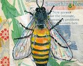 Honey Bee Decor, Art on Wood, Mixed Media Painting, Original Artwork  8X8